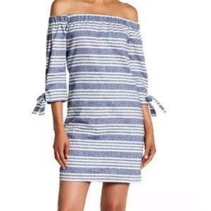 Vince Camuto Striped Off Shoulder Linen Dress 14